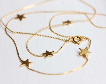 Gold Star Necklace, Long Gold Star Necklace, Star Charm Necklace, Delicate Star Necklace