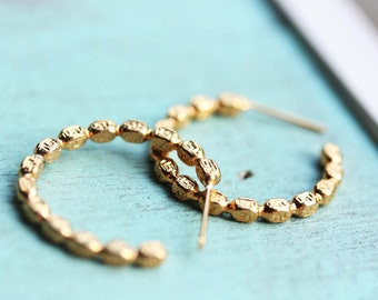 Small Gold Hoops, Gold Hoops, Beaded Hoops, Vintage Gold Hoops, Hoop Earrings
