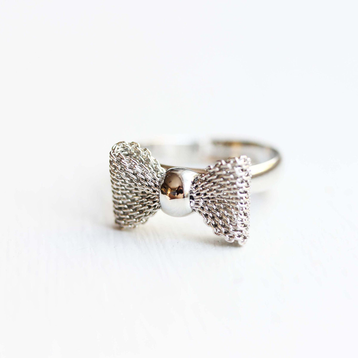 silver bow ring mesh bow ring adjustable ring silver ring