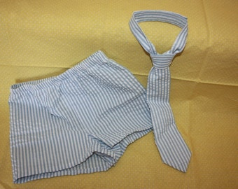 Baby boy Boxers with a tie.   size  newborn to 5