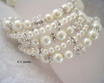 5 Strands of Pearls and Rhinestones