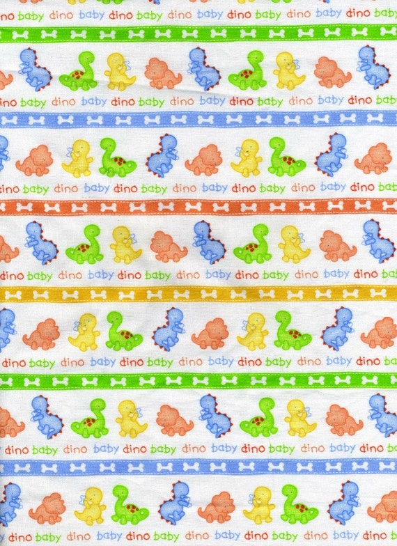 Vintage mini baby dinosaur stripe fabric last by romasmaison for Baby dinosaur fabric