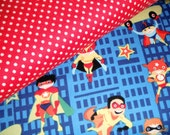 BUNDLE SALE - Flannel Super Heroes Blue and Red Baby Toddler Boy Custom Bundle - Michael Miller and Riley Blake - 2 yards