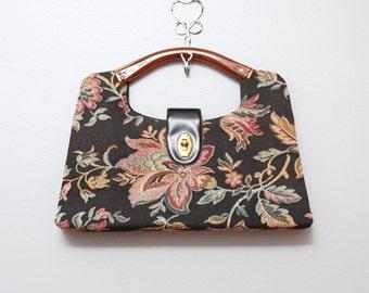 1960s Clutch - Floral Tapestry Handbag 60s Purse