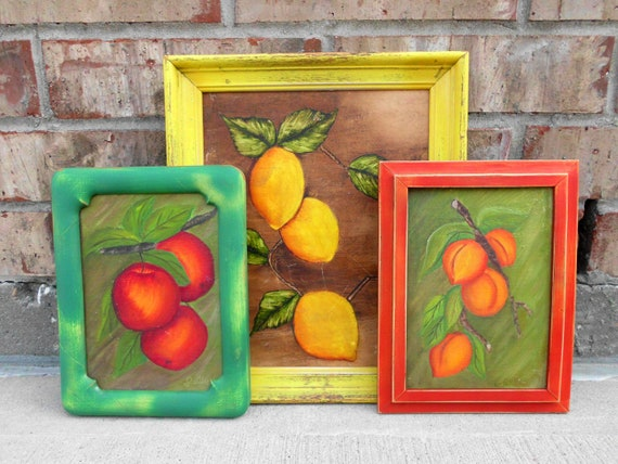 Fabulous Fruitful - Upcycled - Vintage Framed Paintings - Colorful Kitchen Wall Art Collection - CHIC