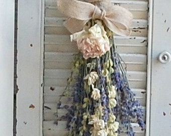 T WO - Dried Lavender  Bouquets with Dried Larkspur and a Blush Pink Peony /  Dried Flower Arrangement