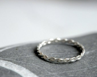 Braided Sterling silver ring - stackable - Made To Order