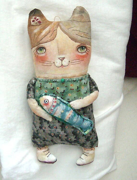 Original Art doll  Little Kitty with blue fish. Whimsical OOAK from miliaart