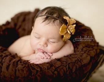 Rustic Light Brown Flower on Brown Elastic Headband - newborn photo prop