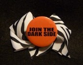 Star Wars Inspired Hair Bow - Fun and Funky Force with Flair - Zebra Print Bow with Star Wars Pinback Button Center