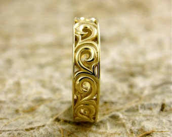Wide Scroll Wedding Ring in Solid 14K Yellow Gold with Shiny Finish Size 6