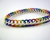 Narrow Rainbow Multicolored Stretchy Chainmaille Bracelet Pride Jewelry