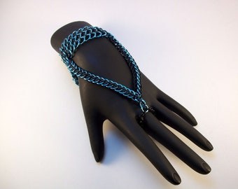 Handflower Slave Bracelet Sky Blue and Black Stretchy Unique Statement Jewelry or Renaissance Costume