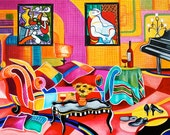 Fine Art Prints Still Life Interior Room Patchwork Sofa from Original Oil Painting Romancing Picasso by k Madison Moore