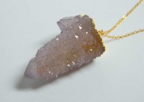 Spirit Quartz Necklace - Crystal Point Pendant Necklace - 24K Gold Dipped - Bohemian Necklace - OOAK - Gift for Her - Version C