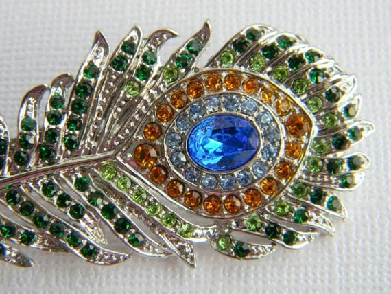 Rhinestone Peacock Feather Hair Clip - Blue and Green - Silver Toned - Bridesmaid - Bridal - Wedding