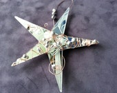 RESERVED for Linda Powell - mirrored glass star with silver beads - RESERVED