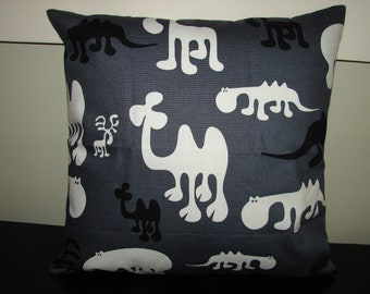 FREE SHIP Adorable cushion pillow cover, animal print from, designer Eero Aarnio, Finland, gray sturdy canvas, 16x16""