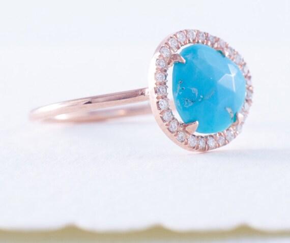 Turquoise Ring Rose Gold Ring Rose Cut Turquoise Ring