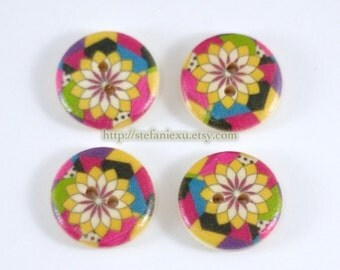 Wooden Buttons - Colorful Tangram Geometric Floral Flower (4 in a set, D1.8CM)