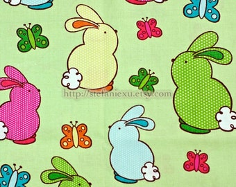 SALE ClEARANCE 1 Yard Zoology Collection, Spring Quilt Mini Dots Easter Bunny On Grass Green-US Quilting Cotton Fabric (1 Yard)
