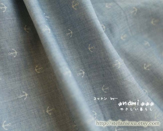 Nautical Marine, Neat Anchors On PALE Blue - Japanese Cotton Fabric (1/2 Yard, LAST Piece)