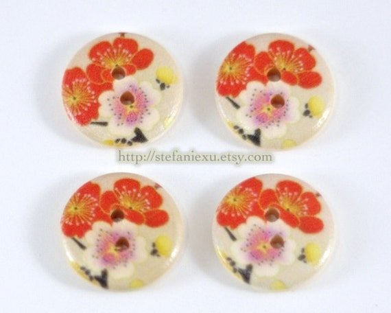 Wooden Buttons - Japanese Traditional Spring Cherry Blossom (4 in a set, D1.8CM)