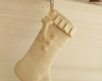 Dog Christmas Stocking Linen Winter White Burlap Pet - Three Rosettes