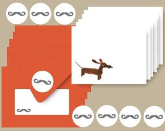 Wiener in Mustache Disguise Set of 6 Dachshund Note Cards with Persimmon Envelopes and Stickers