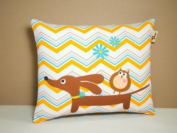 Dachshund Dog Pillow - Doxie and Owl Chevron Daisy Delight