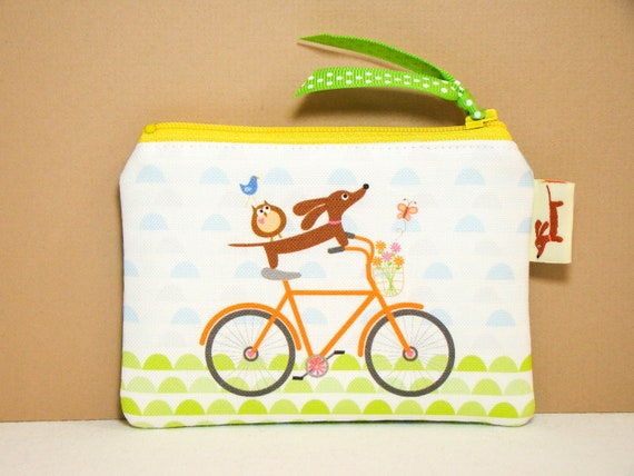 Dachshund Coin Purse - Doxie and Owls Ride a Bicycle in Orange - Doxie Dog Pouch