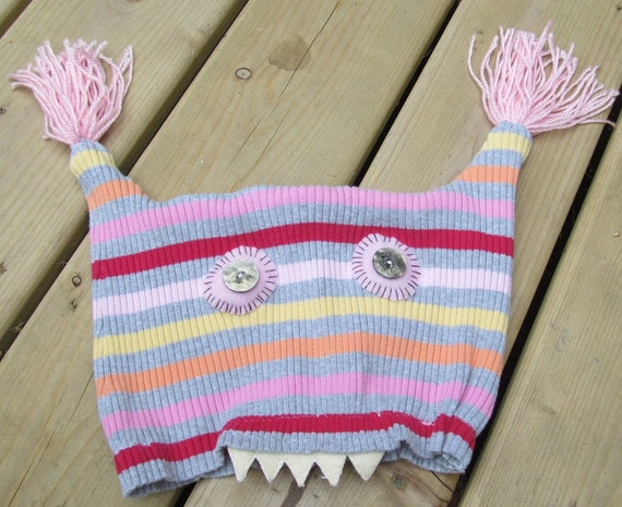 Ladies Monster hat reconstructed sweater striped vintage buttons