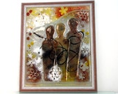 Painting on Glass - Abstract image style,  Fused glass art