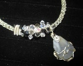 Wire wrapped Gray/Blue Banded Lace AgatePendant on a Viking Knit Necklace with earrings