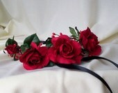 Gorgeous Red headwreath rose headband black Flower crown gothic wedding bridal hair accessories summer music festival rave concerts EDC