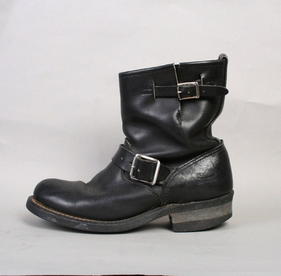 1980s MOTORCYCLE BOOTS / Black Leather Moto Boots, 7-7.5