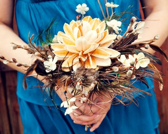 Flowers and Feathers Bouquet for Brides or Bridesmaids