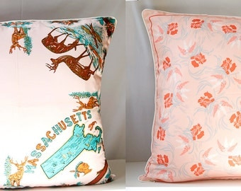 Massachusetts Vintage Scarf Pillow Cover PINK OOAK Eco-Chic Upcycled, Decorative Throw Cushion Holiday Gift  25x25