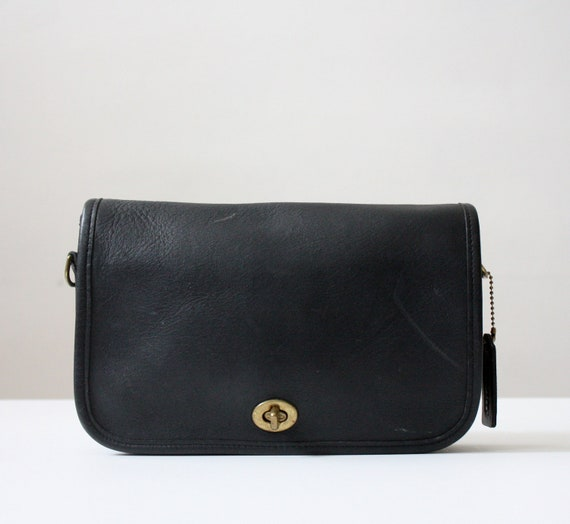 coach bag - vintage black leather coach purse