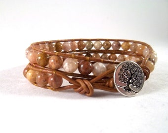 Sirocco - Double Leather Wrapped Beaded Bracelet With Autumn Agate Beads