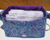 Super Large Size Coupon Organizer / Budget Organizer Holder Box - Attaches to Your Shopping Cart - Blue Purple Paisley