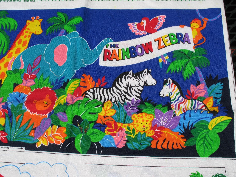 Rainbow Book Cover Material : Fabric panel rainbow zebra cloth quiet book