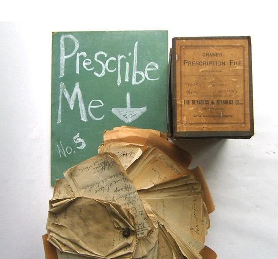 RESERVED Pharmacy Box Full of Handwritten Medicine Prescriptions No. 5