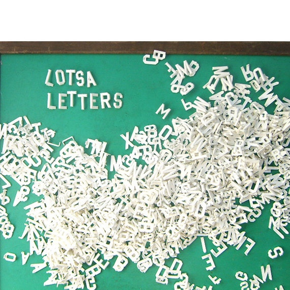 Large set of vintage white plastic alphabet sign letters for Large plastic alphabet letters