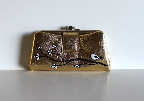 Early Bird - VINTAGE gold WALLET with hand painted bird on branch