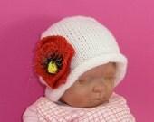 Instant Digital File PDF Download Knitting Pattern-not the hat- Baby Poppy Flower Slouch Knitting Pattern