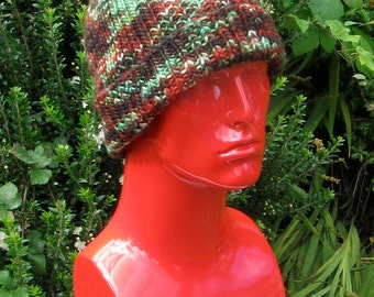 Instant digital file pdf download knitting pattern - chunky self striping all rib beanie knitting pattern