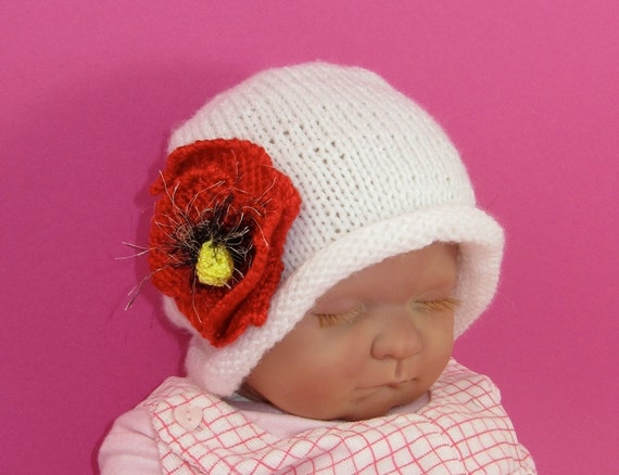 Instant Digital File PDF Download Knitting Pattern-not the hat- Baby Poppy Flower Slouch Knitting Pattern