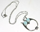 Owl Necklace, Owl Charm with Aqua Rose Cabochons, Silver Necklace, 22 Inches