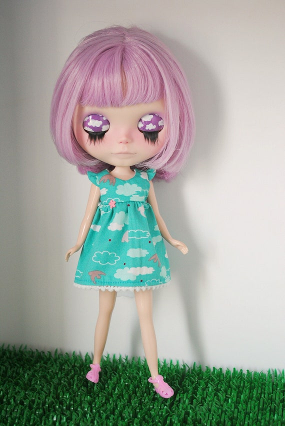 Turquoise clouds dress, for Blythe dolls.